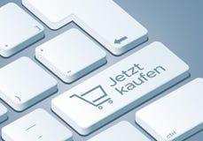 För köp tangent nu - tangentbord med illustrationen för begreppet 3D - Tysk-översättning: Jetzt kaufen stock illustrationer