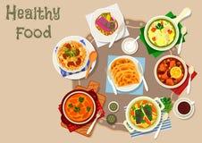 För kött- och fiskmaträtt för Tatar kokkonst traditionell symbol vektor illustrationer