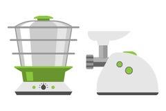 För köttkvarnmatlagning för hem- anordningar utrustning och lägenheten för hem för kök utformar mallen för mat för hushållmatlagn vektor illustrationer