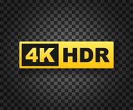 för 4K symbol ultra HD, hög upplösningsfläck för definition 4K, HDR konstruktionsillustrationmateriel under vektor royaltyfri illustrationer