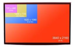 för 4K upplösning ultra HD på på modern TV Arkivfoton