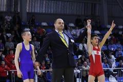 För kadettbrottning för 2014 europé mästerskap Royaltyfri Fotografi