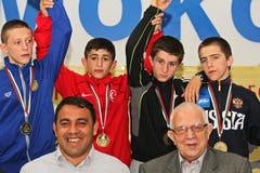 För kadettbrottning för 2014 europé mästerskap Royaltyfria Foton