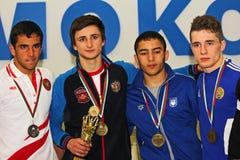 För kadettbrottning för 2014 europé mästerskap Arkivbild