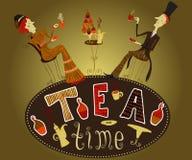 För kaféaffisch för tappning hand dragit dam för tecknad film för tebjudning och gentlemandrinkte Vektor Illustrationer