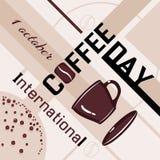 För kaffedag för tryck internationell sammansättning royaltyfri illustrationer