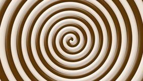 För kaffevirvel för brunt och för kräm kulör tunnel för optisk illusion för spiral - loopable 4K arkivfilmer