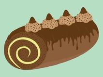 För kakarulle för choklad krämig illustration Arkivbilder