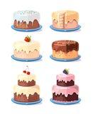 För kakavektor för kräm- kaka smaklig uppsättning i tecknad filmstil vektor illustrationer