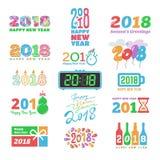 För kalenderChristmass för nytt år 2018 färgade trycket för kalendern för ferie text den nyfödda partiillustrationen för designen Royaltyfri Fotografi