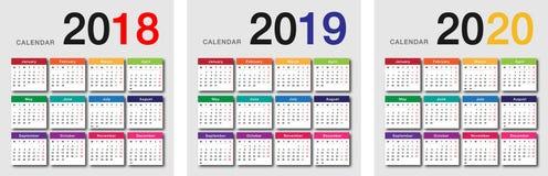 För kalenderhorisontalvektor för år 2018 och för år 2019 och årsmall 2020 för design vektor illustrationer