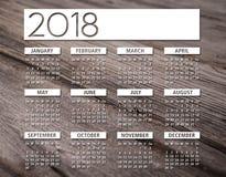 för kalenderträ för 2018 engelska bakgrund Royaltyfri Bild
