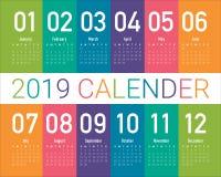 För kalendervektor för år 2019 mall för design royaltyfri illustrationer