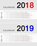 För kalendervektor för år 2018 och för år 2019 design Royaltyfria Bilder