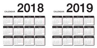 För kalendervektor för år 2018 och för år 2019 design för mall för design enkel och ren, vektor illustrationer