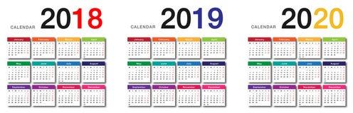 För kalendervektor för år 2018 och för år 2019 och för år 2020 design för mall för design enkel och ren, royaltyfri illustrationer