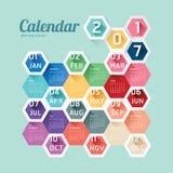 För kalendervektor för 2017 kalender design för sexhörning geometrisk modern Fotografering för Bildbyråer