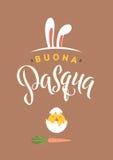För kalligrafihälsning för lycklig påsk italienskt kort Modern borstebokstäver Glad önska, feriehälsningar pastell stock illustrationer