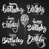 För kalligrafihand för lycklig födelsedag uppsättning för bokstäver stock illustrationer