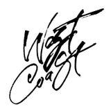 För kalligrafihand för västkusten modern bokstäver för serigrafitryck Royaltyfri Foto