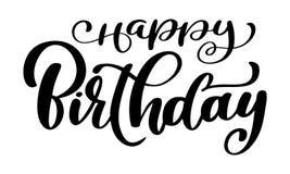 För kalligrafisvart för lycklig födelsedag text Hand dragen design för inbjudanT-tröjatryck stock illustrationer