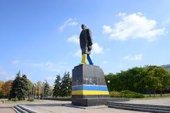 för kaluzhskayalenin för 2009 fragment moscow monument fyrkant Ukraina Donetsk region Fotografering för Bildbyråer