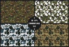 För kamouflagebakgrund för fyra säsong uppsättning royaltyfri bild