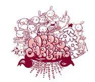 För kaninkortet för glad jul stil för klottret skissar royaltyfri illustrationer
