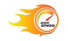 För kapacitetsmått för snabb internet hastighetsmätare för flamma royaltyfria bilder