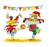 För karnevaldans för pajasfasoner ganska gyckel royaltyfri illustrationer