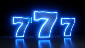 För kasinojackpott för springor 777 symbol med blåa ljus för neon som isoleras på den svarta bakgrunden - illustration 3D stock illustrationer