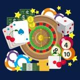 För kasinolek för mobil vågspel online-begrepp för dobbleri för rengöringsduk för lägenhet för lek Royaltyfri Foto