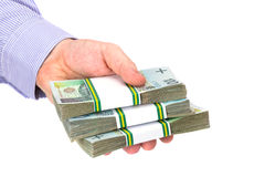 För kassa hand in som ett lånsymbol arkivfoto