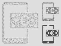 För kassavektor för euro 2D modell för mobilt ingrepp och mosaisk symbol för triangel stock illustrationer