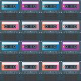 För kassettband för vektor sömlös lägenhet Backround för modell Fotografering för Bildbyråer
