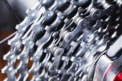 För kassettmakro för mountainbike bakre skott KASSETT FÖR BIKECARTRIDGE arkivbild