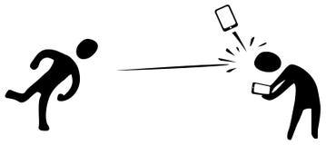 För kastkontur för telefon ilskna symboler stock illustrationer