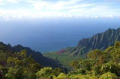 för kauai för kusthawaii kalalau dal för pali na Arkivfoton