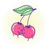 För kawaiistil för roliga körsbärsröda par förälskat kyssa royaltyfri bild