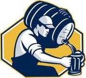 För Kegtrumma för Bartender Retro hällande öl vektor illustrationer