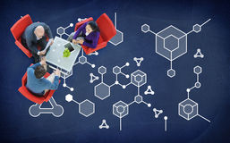 För kemivetenskap för molekylär struktur begrepp för experiment Arkivbilder