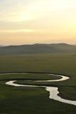 För Khan Mongolian för guld- hord för Mergel flodstrand stammar stäpp arkivbilder