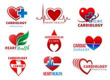 För kirurgihjärta för kardiologi hjärt- symboler för hälsa stock illustrationer
