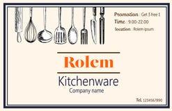 För kitchewareförsäljning för känt kort vektor för klotter för handdraw för företag Royaltyfria Foton