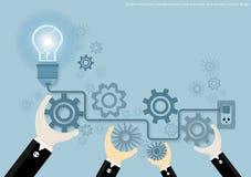 För kläckning av ideerbegrepp för vektor idérik idé för affär, innovation och lösning, idérik designlägenhetdesign stock illustrationer