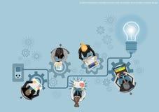 För kläckning av ideerbegrepp för vektor idérik idé för affär, innovation och lösning, idérik designlägenhetdesign Arkivbild