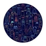 För kläder- och tillbehörsymbol för trendiga kvinnor uppsättning Royaltyfri Fotografi