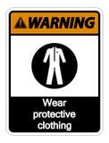 för kläderskyddskläder för symbol varnande tecken på vit bakgrund royaltyfri illustrationer