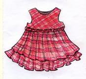 För klänningdesignen för rosa färger blyertspennan skissar flickaktigt Arkivbilder