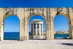 För Klocka för belägring för världskrig II minnesmärke krig, Valletta, Malta arkivbild